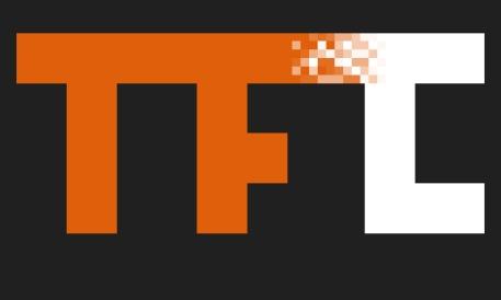 Large Orange Pixel Fade Logo